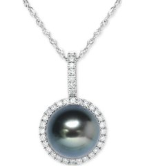 """cultured tahitian pearl (9mm) & diamond (1/5 ct. t.w.) 18"""" pendant necklace in 14k white gold"""