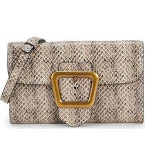 sam edelman women's slim tessa snake-embossed leather crossbody bag - sesame