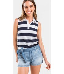 denene front tie denim shorts - medium wash