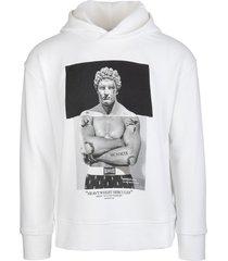 neil barrett man white heavyweight hercules series hybrid hoodie