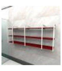 prateleira industrial banheiro aço cor branco 180x30x68cm cxlxa cor mdf vermelho modelo ind34vrb