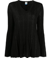 m missoni zig-zag knit flared sweater - black