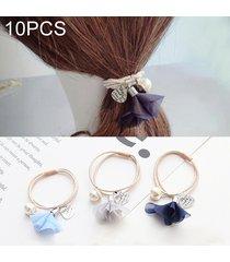 10 pcs flor de seda estilo goma elastica banda de pelo anillo color al azar entrega
