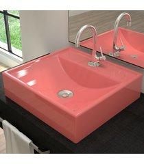 cuba para banheiro quadrada rosa q39 - compace