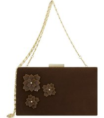 bolsa clutch le diamond flowers marrom - kanui
