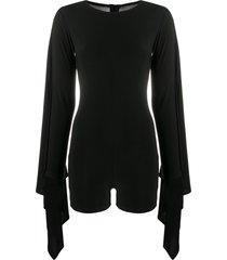 alchemy draped sleeves playsuit - black