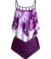 peacock feather cut out overlay tankini set