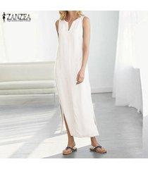 zanzea vestido sin mangas sin mangas para mujer vestido midi con escote alto vestido camisero largo con hombros descubiertos -blanco
