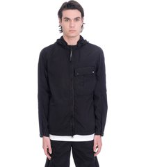 c.p. company casual jacket in black polyamide