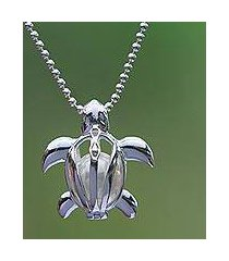cultured pearl pendant necklace, 'graceful turtle' (indonesia)