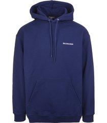 unisex dark blue balenciaga wide line hoodie