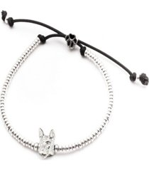 german shepherd head bracelet in sterling silver
