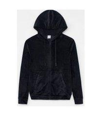 jaqueta esportiva com capuz e bolsos | get over | preto | gg