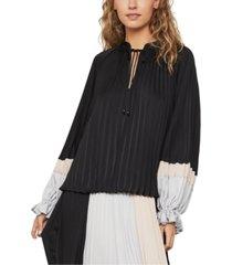 bcbgmaxazria colorblocked pleated satin blouse