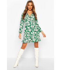 floral print ruffle 3/4 sleeve tea dress, green