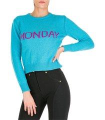 maglione maglia donna girocollo rainbow week monday