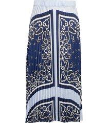 ams blauw pleated plisse skirt lång kjol blå scotch & soda