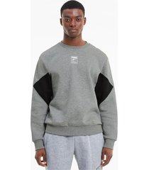 rebel small logo sweater met ronde hals voor heren, grijs, maat xl | puma
