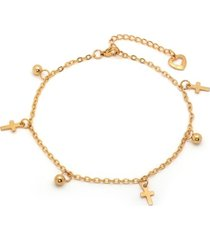 steeltime 18k micron gold plated stainless steel ball cross charm adjustable anklet