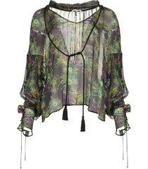 blouse met bloemenprint iris  zwart