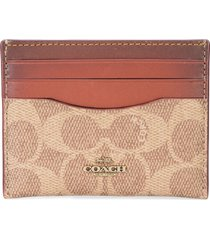 coach signature canvas card case - brown