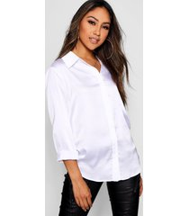 oversized geweven satijnen blouse met lange mouwen, wit