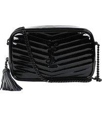 lou patent mini shoulder bag, black