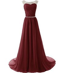 fnks long chiffon ruched bridesmaid evening party dress prom ball gown burgun...