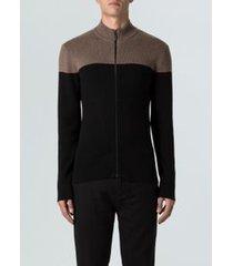 sweater tricot bicolor-preto/marrom