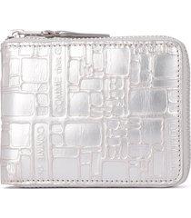 comme des garçons silver leather wallet with print