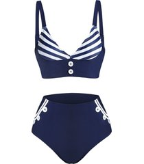 striped print button high waisted tankini swimwear