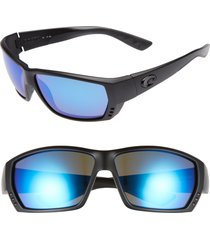 costa del mar tuna alley 60mm polarized sunglasses in blackout/blue mirror at nordstrom