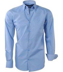 brentford and son heren overhemd ongetailleerd design in de kraag licht blauw