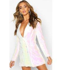 satijnen blazer jurk met pailletten, white