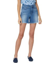 petite women's nydj high waist fray hem a-line shorts, size 8p - blue