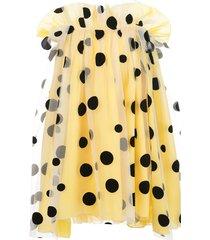 carolina herrera off-shoulder cape dress - yellow