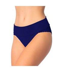 1 calcinha cós duplo renda lingerie feminina sensual azul escuro