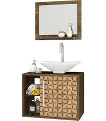 conjunto p/ banheiro baden madeira rãºstica bechara - marrom - dafiti