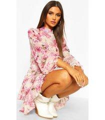 bloemenprint skater jurk met hoge hals en geplooide zoom, roze