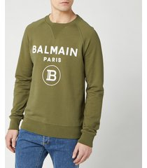 balmain men's small coin flock sweatshirt - khaki - m