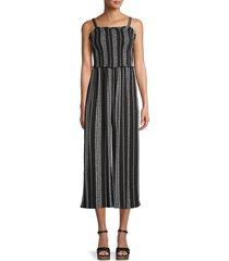 c & c california women's striped cropped jumpsuit - black night - size l
