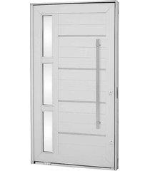 porta pivotante lambris horizontais com friso, vidro e puxador alumínio branco 223,5x126,2x12cm direita aluminium - 72440099 - sasazaki - sasazaki