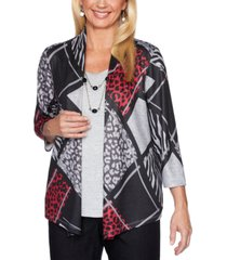 alfred dunner petite patchwork-print layered-look well red top