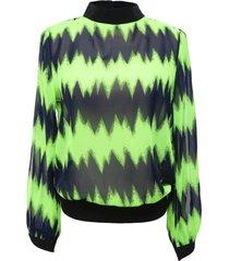 blusa zigzag aberturas verde nicopoly