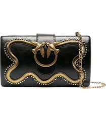 pinko love party snake clutch - black