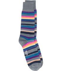 paul smith fine knit striped socks - grey