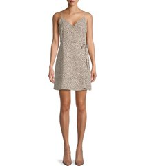 sanctuary women's wrap it up printed mini wrap dress - mini leopard - size xl
