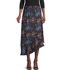 ava & aiden women's floral asymmetric skirt - black desert floral - size xl
