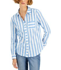 style & co cotton striped button-down shirt, created for macy's