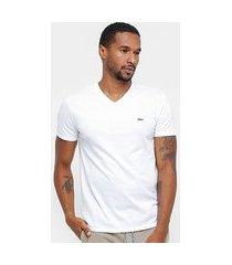 camiseta lacoste gola v regular fit masculina